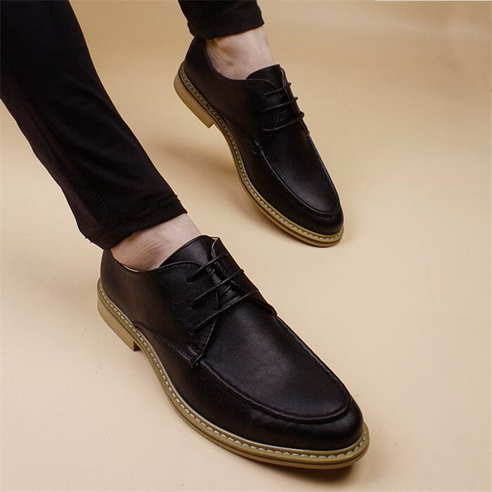 Spring summer casual leather shoes Men fashion British men simple pointed toe lace-up increased patchwork leather shoesSpring summer casual leather shoes Men fashion British men simple pointed toe lace-up increased patchwork leather shoes
