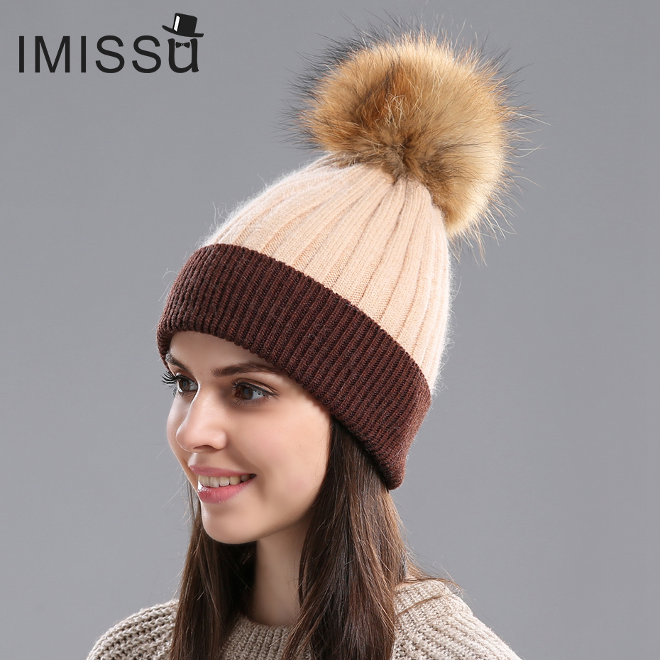 IMISSU  Winter Hat For Women Real Raccoon Fur Pom Pom Hat  Knitted Real Wool Beanies Caps Warm Thick Skullies Design Fashionable