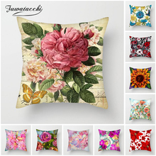 Fuwatacchi Pink Rose Cushion Cover Chrysanthemum Floral Pillow Cover for Home Chair Sofa Decor Floral Painted Pillowcases 45*45 fuwatacchi floral cushion cover feather leaves gold pillow cover for decor sofa chair square decorative pillowcases