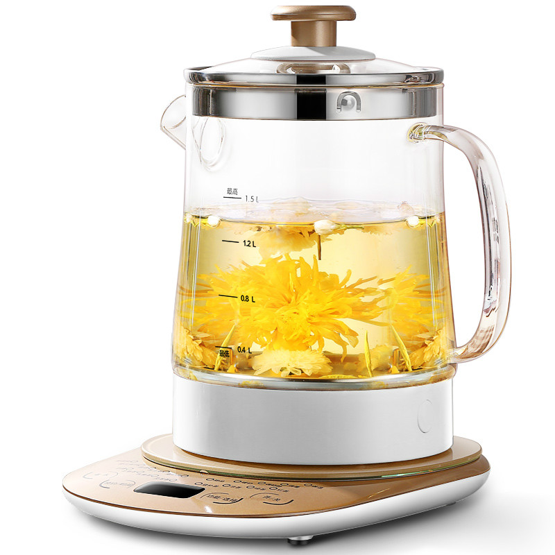 Electric kettle raised pot fully automatic thickened glass multi-function kettle boiling tea pot black Overheat Protection fully automatic thickened glass multi function electric heating kettle flower pot boiling tea ware anti dry protection