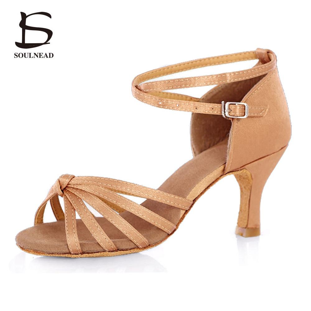 Salsa Latin Dance Shoes For Women Girls Tango Ballroom Dance Shoes High Heels soft Danci ...