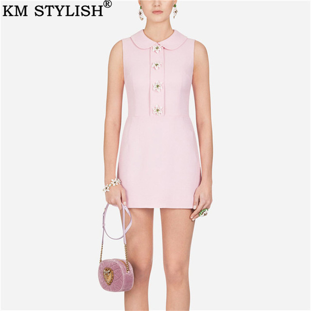 Summer New French Lady Slim Pink Doll Collar Sleeveless Lily Button A-line Dress