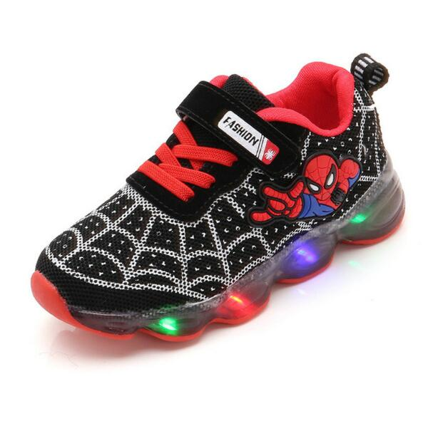 Boys Sneaker Girls Spiderman Kids Led <font><b>Shoes</b></font> <font><b>With</b></font> <font><b>Lights</b></font> Sneaker 2019 Spring Autumn <font><b>Shoes</b></font> <font><b>Children</b></font> Toddler Baby Girl <font><b>Shoes</b></font> image