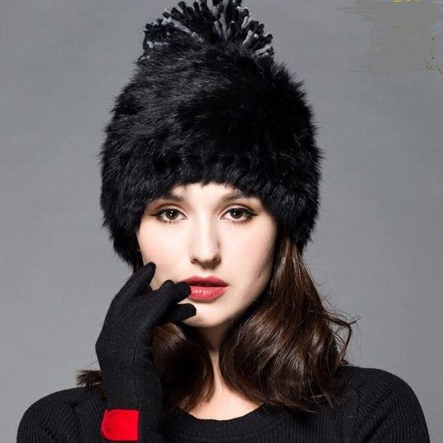 Высокое качество Модные зимние шапки для женщин Меха Кролика шапочка Вязание шерсть Натуральный Мех Случайные милые девушки крышка свободная покупка