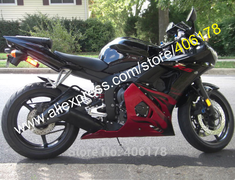 Hot Sales,Red Black Flame fairings for yamaha YZF R6 2003 2004 YZF600 03 04 YZF R6 ABS Plastic fairings (Injection molding)