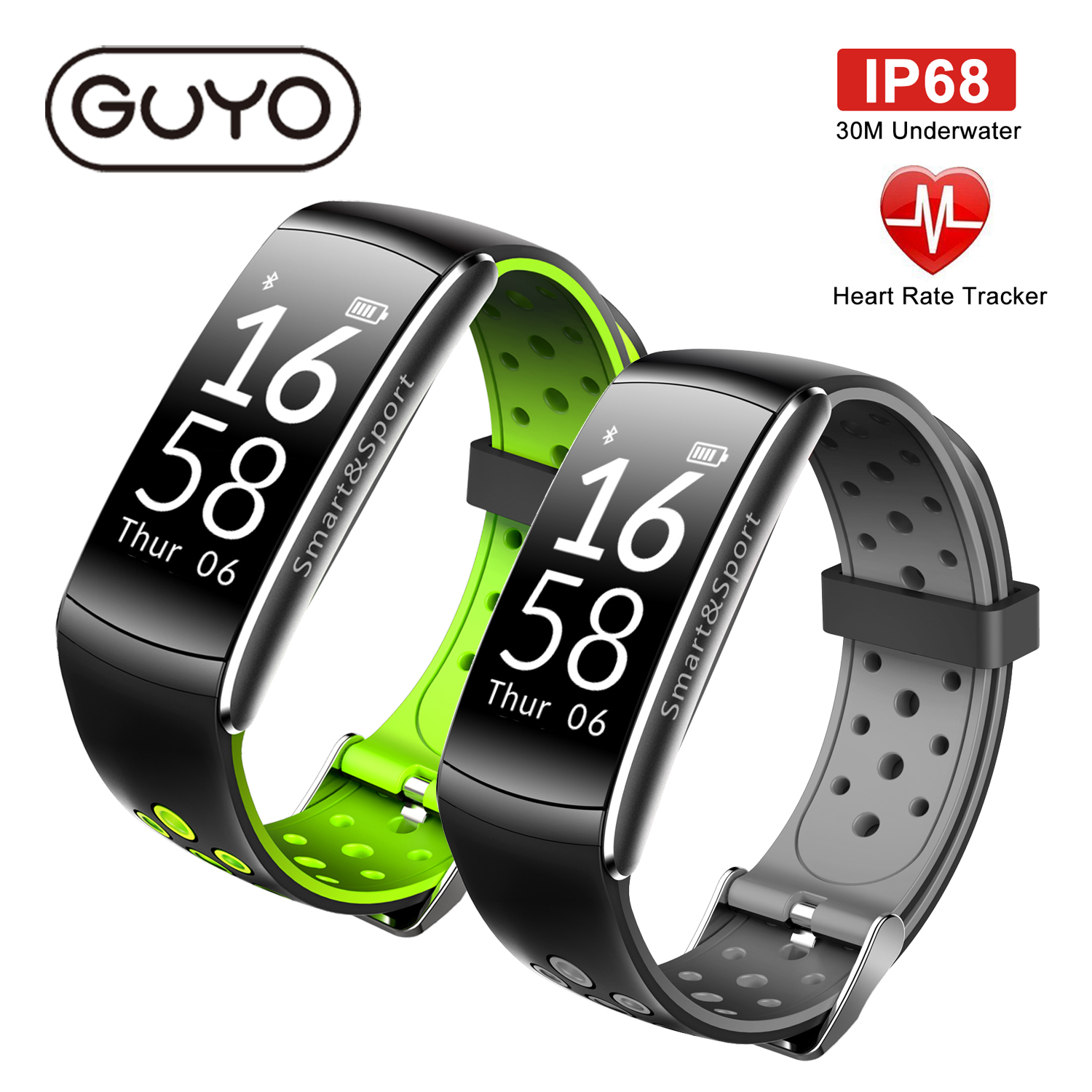 GUYO Smart Watch Heart Rate Monitor IP68 Waterproof Fitness Tracker Blood Pressure gps Bluetooth For Android IOS women men vacation