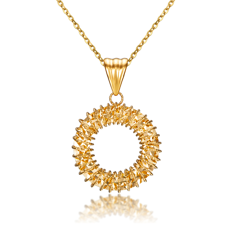 18K Yellow Gold Pendant Women Hollow Round Circle Flower Necklace Pendant P6267