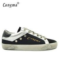 CANGMA Lusso Nero Retrò Canvas Sneakers Uomo Scarpe di Camoscio Cuoio Genuino Retro Scarpe Casual Uomo Traspirante Adulto Calzature Uomo