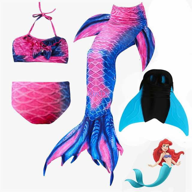 NEW!2018 Ariel Mermaid tails for Kids Girls Beautiful Swimming Mermaid Tail with Monofin Children Swimmable Mermaid Costume