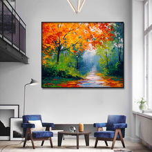 Impressionist oil painting red maple Art  Prints Modern Canvas Wall Oil Paintings Pictures Posters for livingroom home Decor