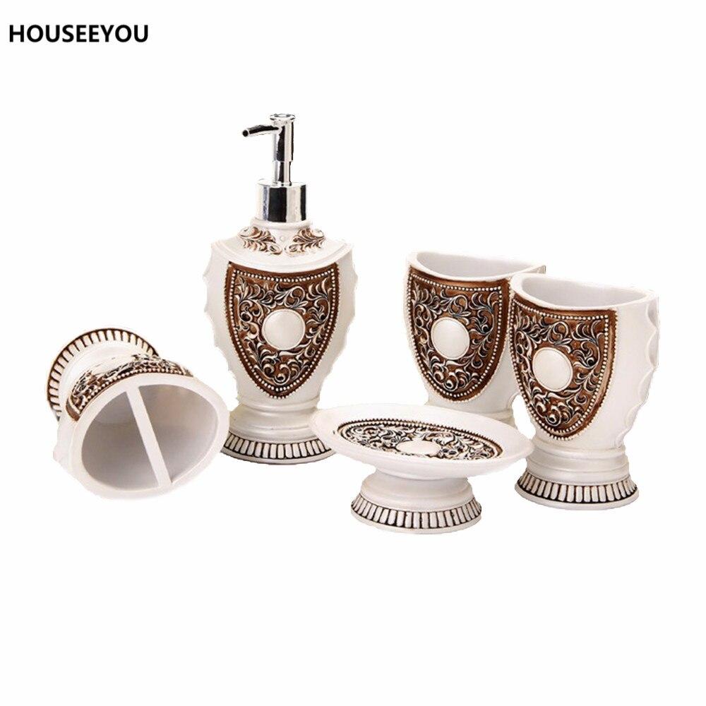 European Bathroom Accessories - European royal bath ensemble bathroom accessory set lotion dispenser toothbrush holder soap dish bathroom accessories