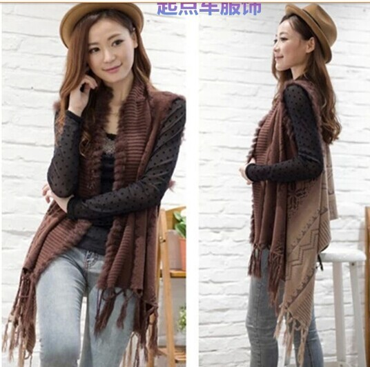 Gradient color rabbit fur knit vest Cardigan Knitting Coat lady coat Cape Poncho shawl wraps Sweater #3615