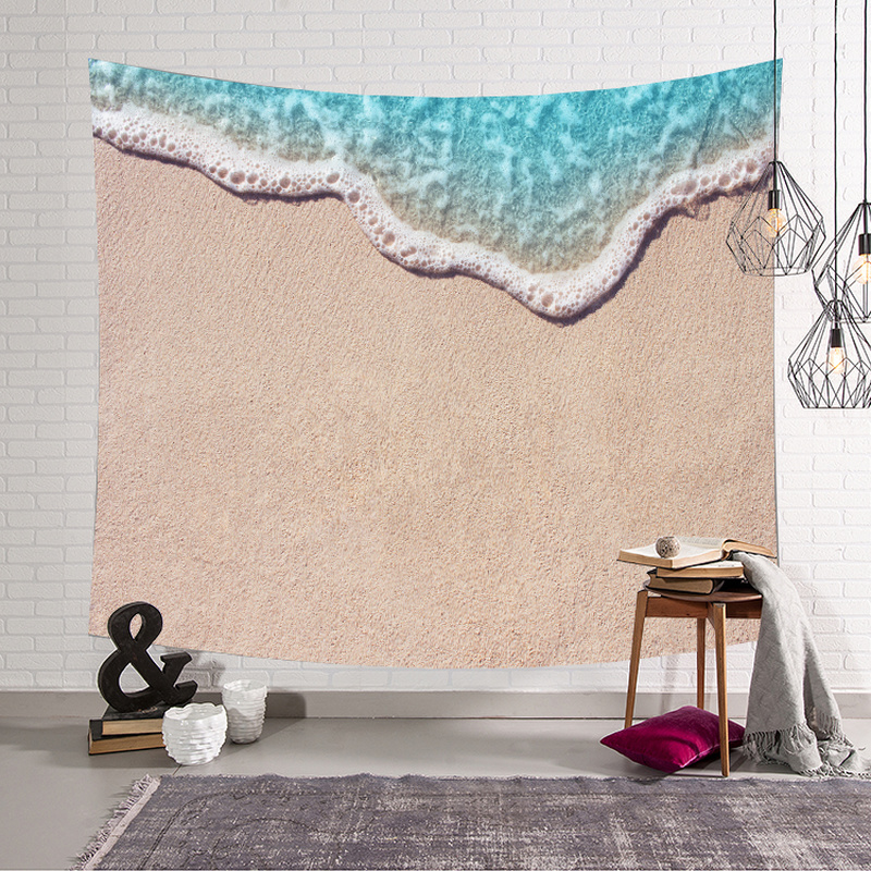 4 Size Sea Wave Beach Tapestry Custom Wall Hanging Wall Tapestry Decor Blanket Wandkleed Farmhouse Decor Wall Fabric Yoga