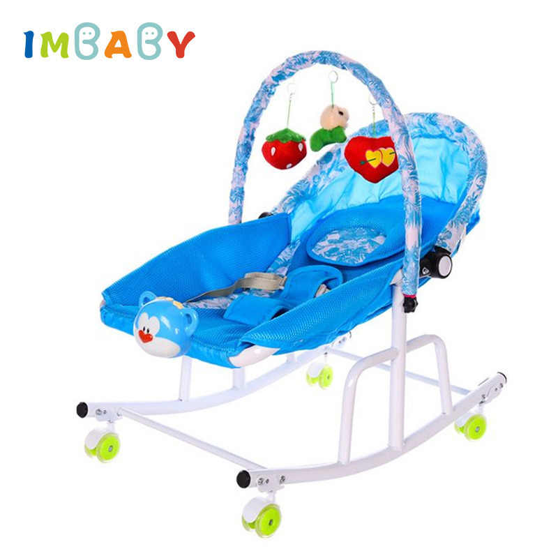 IMBABY Disassemble Metal Baby Cradle With Light Music Player Cradle Swings For Baby Children Bassinet Rocking Chair For Newborns