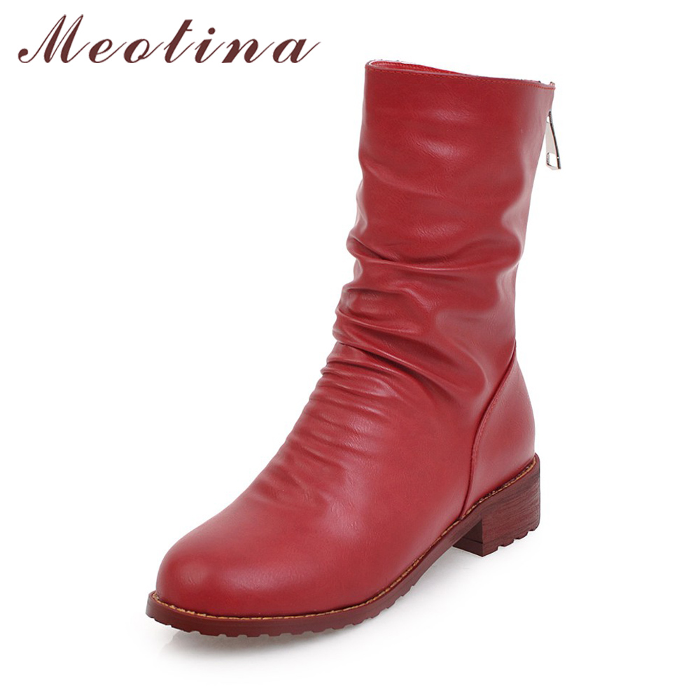 Meotina Women Boots Winter Chunky Heels Mid Calf Boots Zip Plus Size 34-45 Pleated Autumn Boots 2018 Design Lady Red Shoes White double buckle cross straps mid calf boots