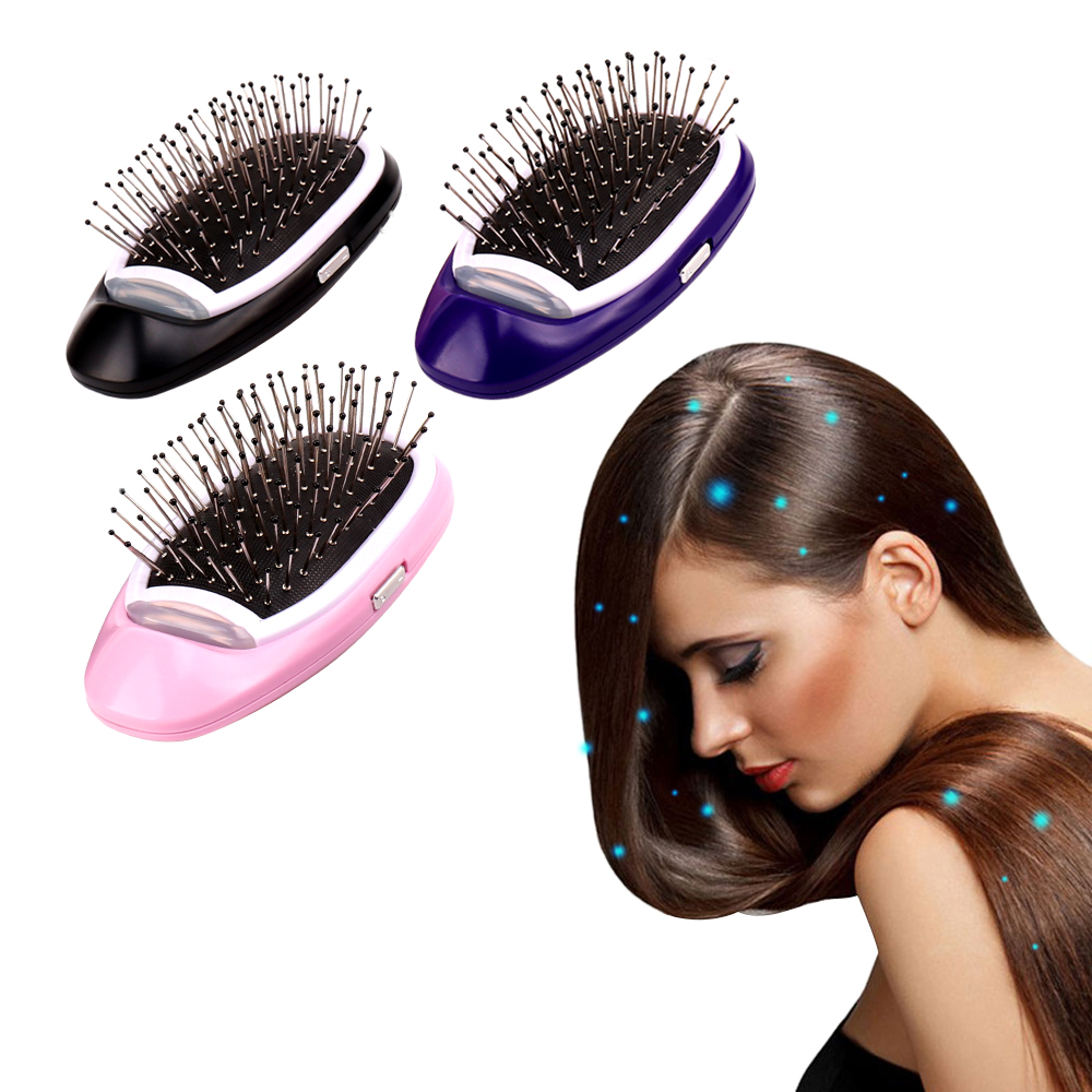 Portable Electric Ionic Hairbrush Negative Ions Hair Comb Brush Hair Modeling Styling Hairbrush + PN34