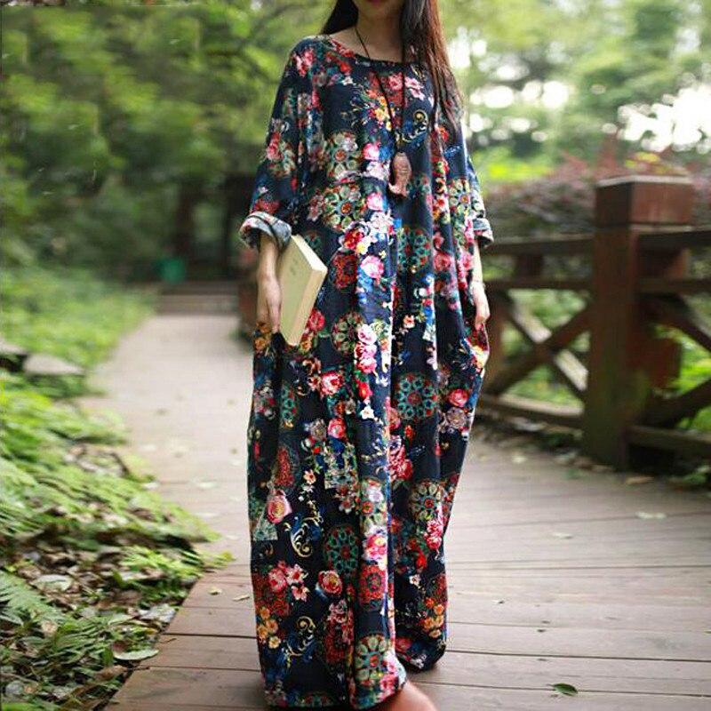 Novo 2018 roupas femininas vestidos outono casual solto manga longa vestidos florais estilo boho algodão linho longo maxi vestido