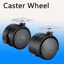 2pcs Dia. 1.5 inches / 2 inches or 41mm/50mm Metal Mounted Plate Black Plastic Dual Wheel Rotatable Caster(China)