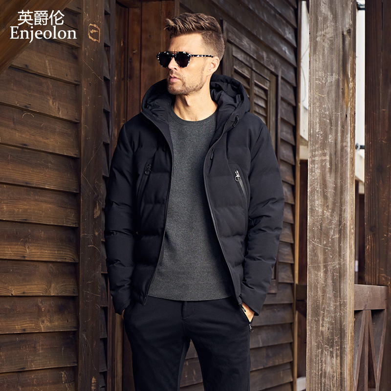 Enjeolon Brand new winter Cotton Padded Jacket Men Windproof hooded Parka black Thick Quilted plus size 3XL Coat Men MF0289 winter jacket men 2016 brand parka plus size men s hooded parka zipper quilted coat casual jackets