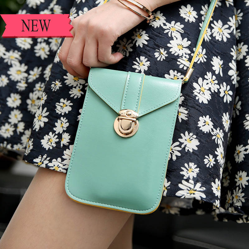 SUBIN New PU Leather Convenient Bag Cell Phone Handbag Wallet Neck Strap For Samsung For IPhone7 For Huawei For Xiaomi