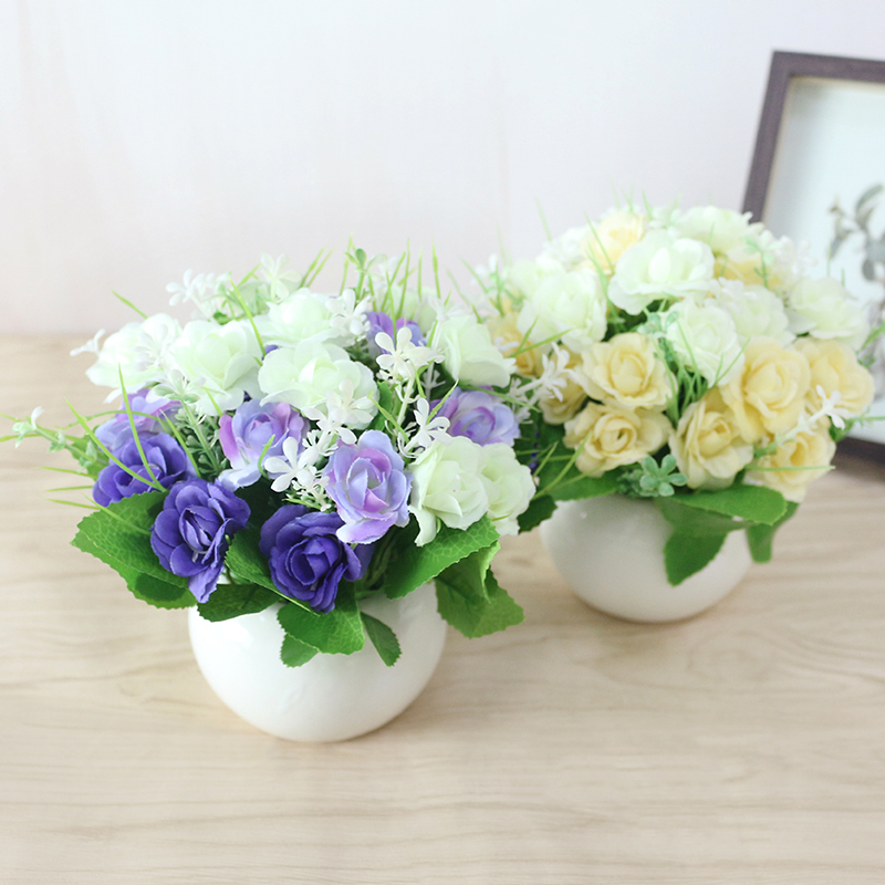 JAROWN Artificial Flowers Rose Quality Ceramics Vase +Silk Flowers Artificial Flower Set Home Decoration Home Flowers Decoration (68)