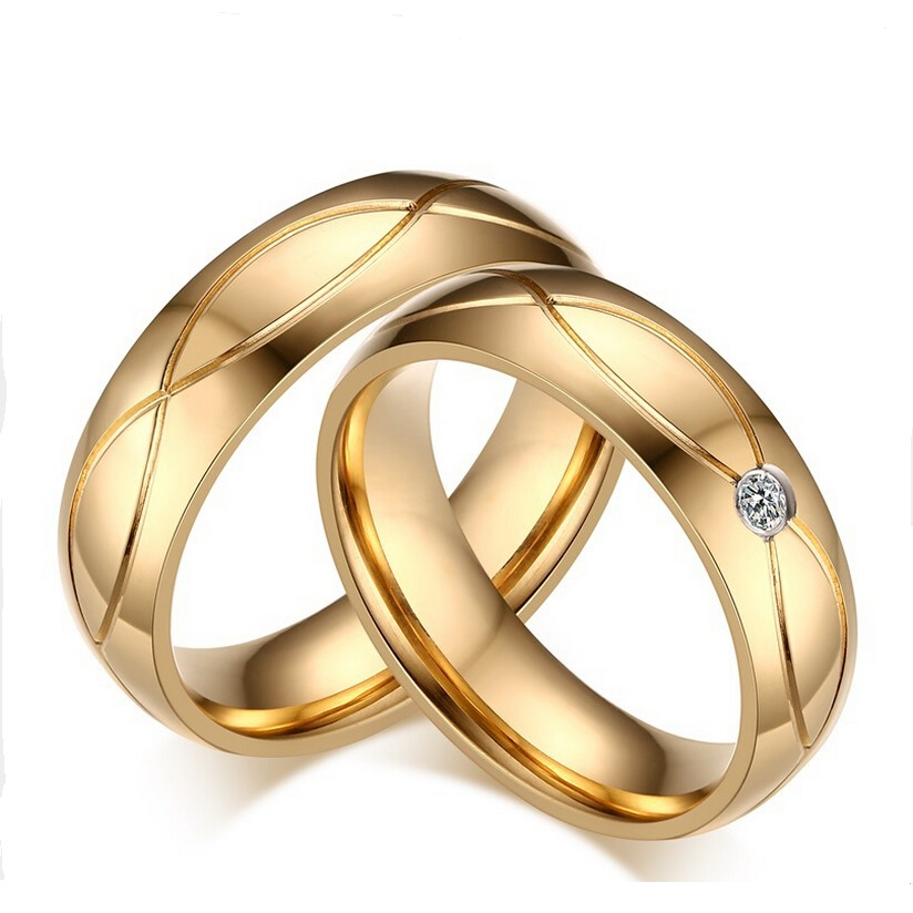 Couple Rings For Women Men Cubic Zirconia Wedding Ring Plated Stainless Steel Female Jewelry