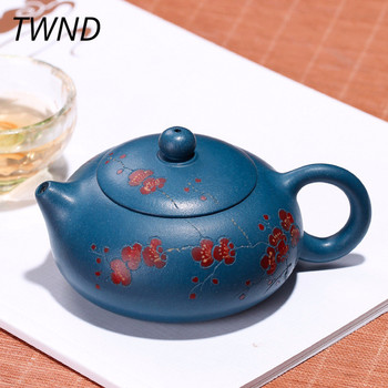 200CC Flat yixing xi shi teapot plum blossom handpainted kung fu pot creative drinkware with gift box