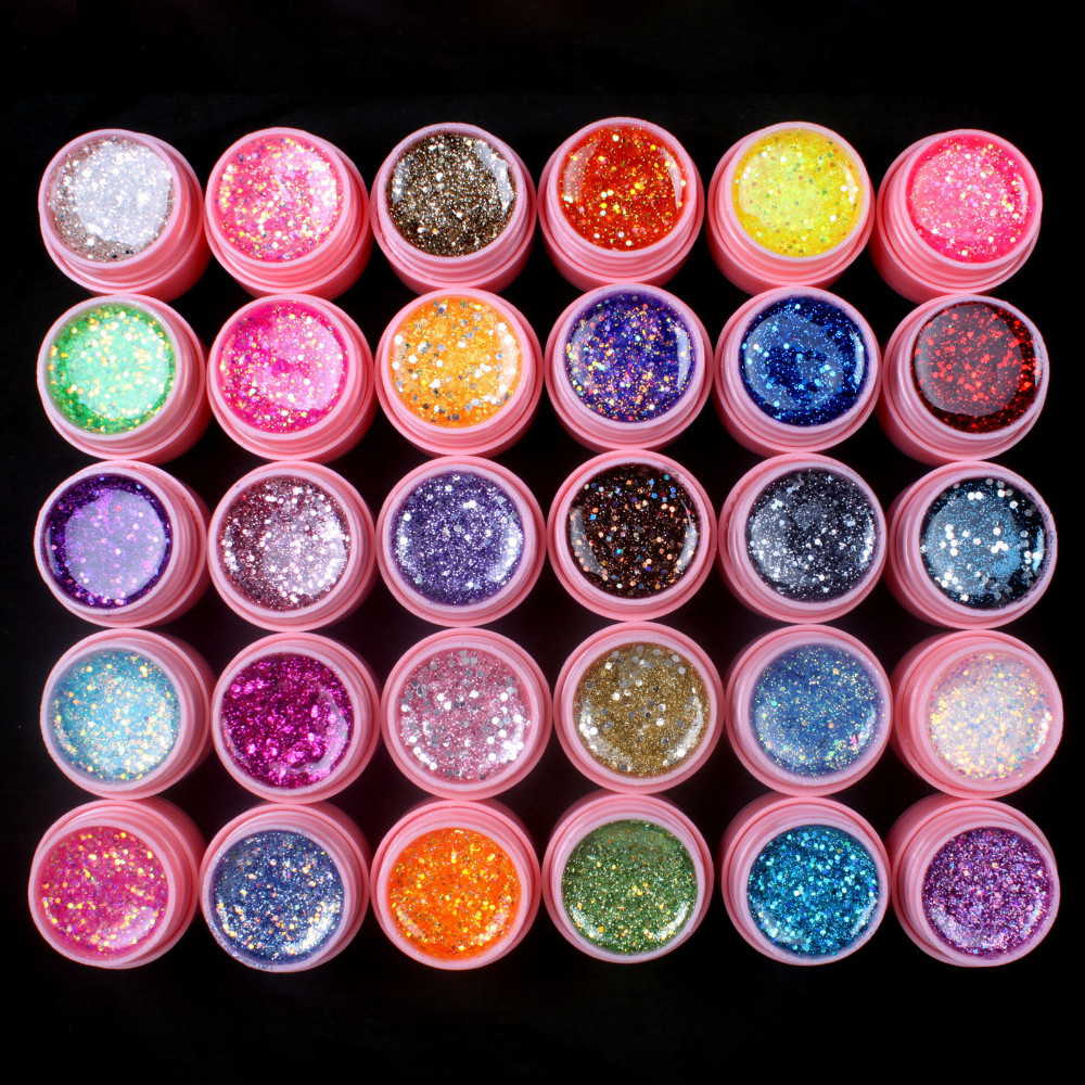 UVGL049-30 Pcs Mix Color Glitter Hexagon Sheet Nail Art UV Builder Gel