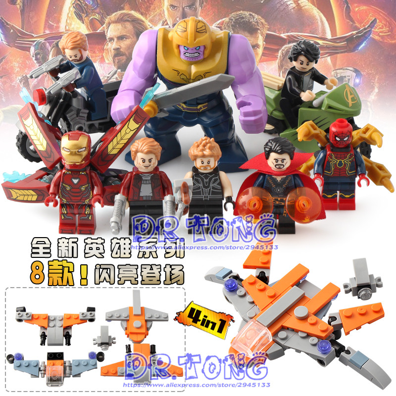 80PCS DLP9077 Super Heroes Avengers INFINITY WAR Lron Man Spiderman Thanos Doll Building Blocks Bricks SET MODELS Children Toys new 765pcs sy327 super heroes assemble the avengers building bricks blocks set education toys for children minifigure page 6
