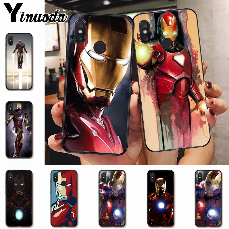 Ynuoda iron Man Marvel Avengers   fashion design skin thin black Case for xiaomi mi 8se 6 note2 note3  redmi 5 plus note5 cover