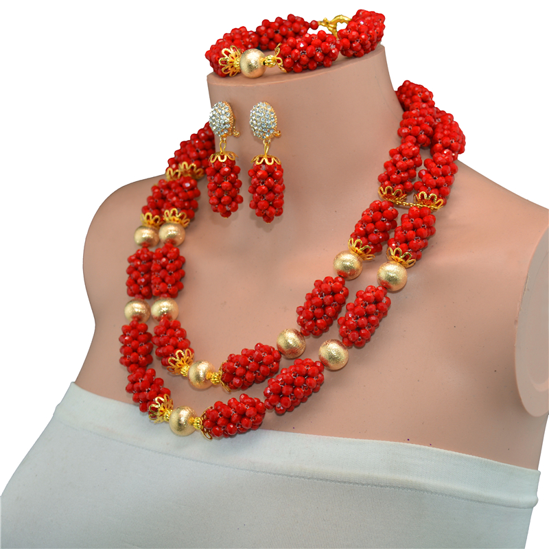 Red African Beads Jewelry Set Crystal Beads Necklace Set Nigerian Wedding African Crystal Beads Jewelry Set 2017-in Jewelry Sets from Jewelry & Accessories    3