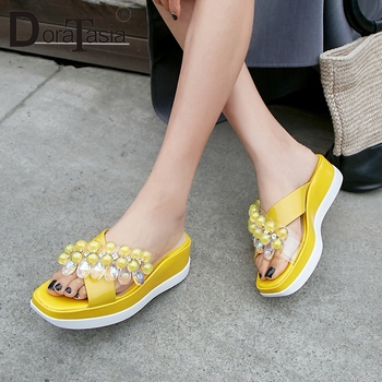 DORATASIA New 2019 Crystal Platform Slippers women's Summer Slippers Women Geninue Cow Patent Leather Wedges Casual Shoes Woman