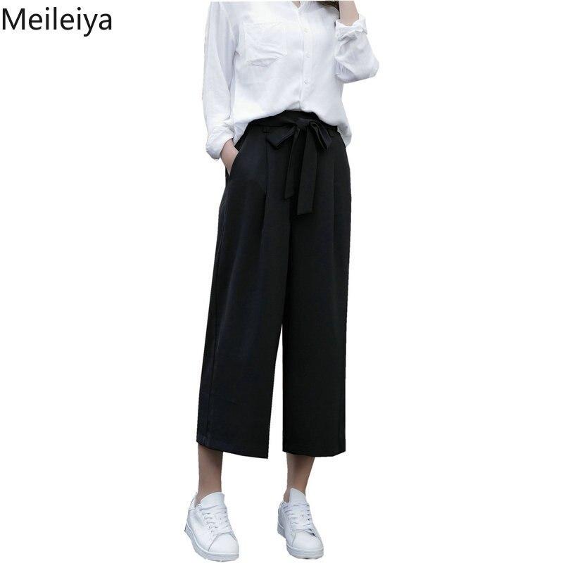 Wide     leg     pants   female summer black cropped   pants   high waist Korean casual   pants   elastic waist thin bow