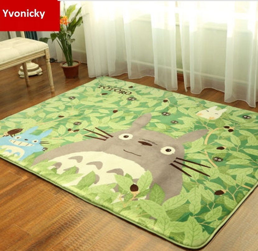 Brand Cute Totoro Mat Super Soft Coral Fleece Cartoon Anti-slip Rugs Carpet For Bedroom Kitchen 50*180,90*180,130*180cm 3 Sizes