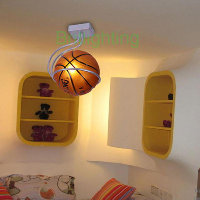 Super Star Basketball Lamp For Children Room Kid Glass Ball Ceiling Lights Modern Flush Metal Ceiling Lamp Bedroom Led Brown Bar Lights & Lighting