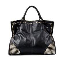 2016 neue Heiße Beiläufige Frauen Pu-leder Handtaschen Fashion Glänzende Rivet Gefälschten Diamanten nk Damen Schulter Große Taschen