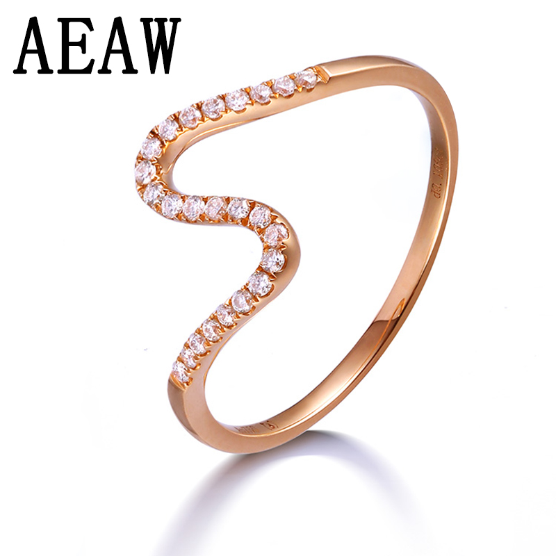 Solid 14K Rose Gold Round Moissanite Engagement Ring Band Lab Diamond Wedding for Women
