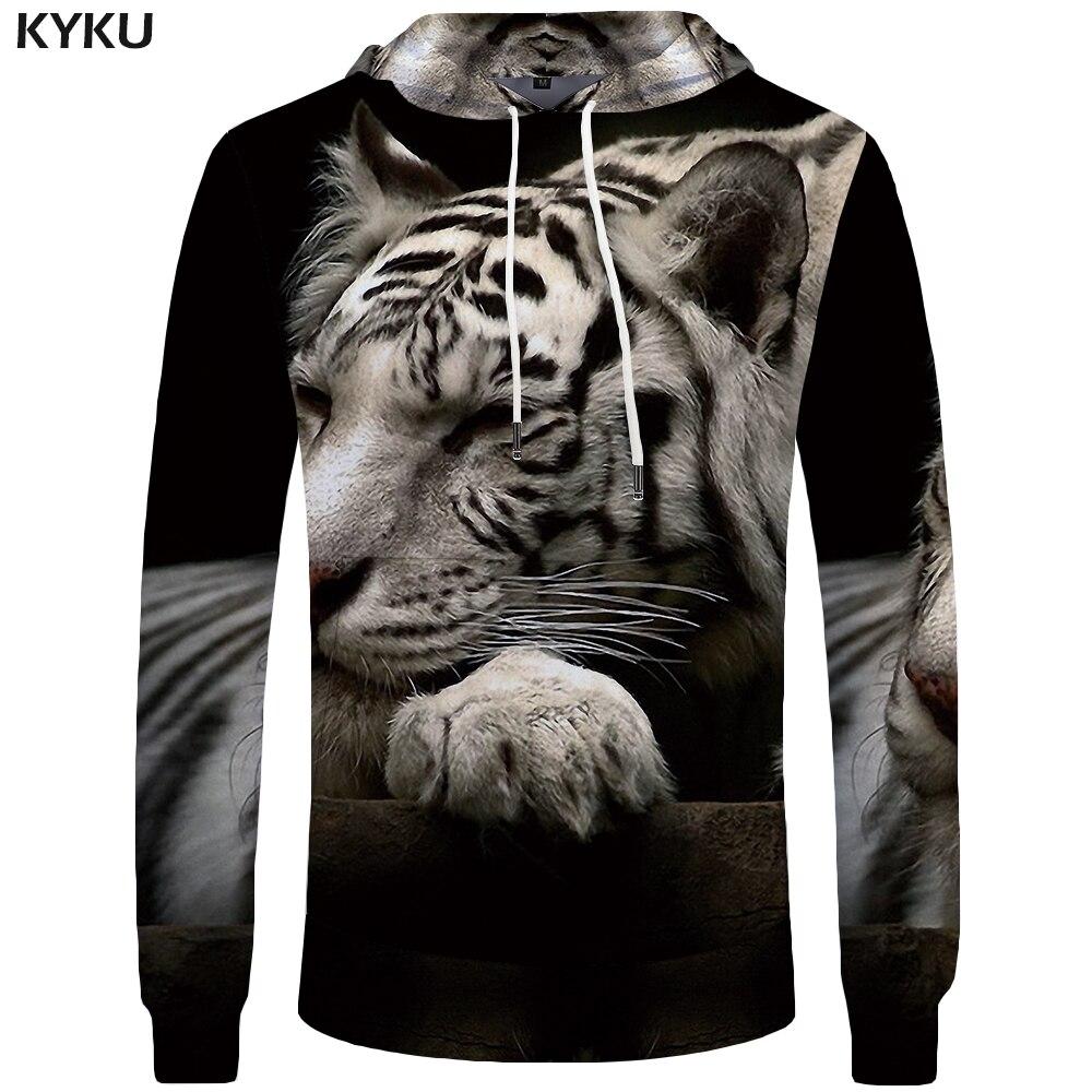 KYKU Brand Tiger Hoodies Men Funny Big Size Animal Mens Clothing Sweatshirts Hoddie Pocket 3d Hoodies Hoodie Sweat shirt