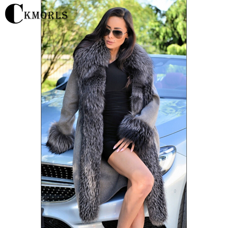 CKMORLS 2018 Nouvelle Arrivée Réel Manteau De Fourrure Des Femmes Parka Vêtements D'hiver Veste Avec Col De Fourrure De Mode Naturel Argent Fourrure De Renard parkas