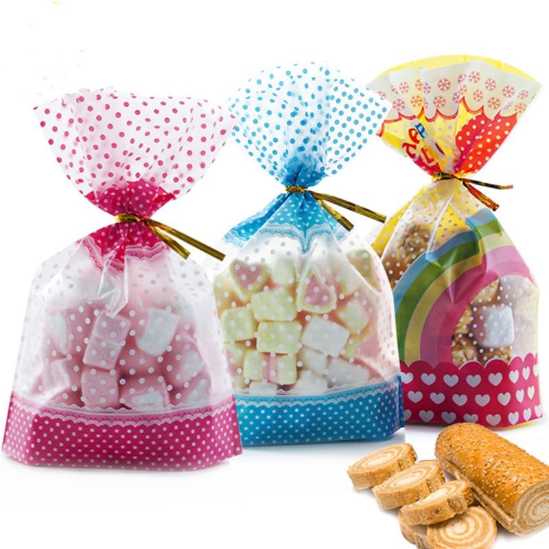 50 шт., пластиковые пакеты для упаковки конфет, печенья, 16 х24 см