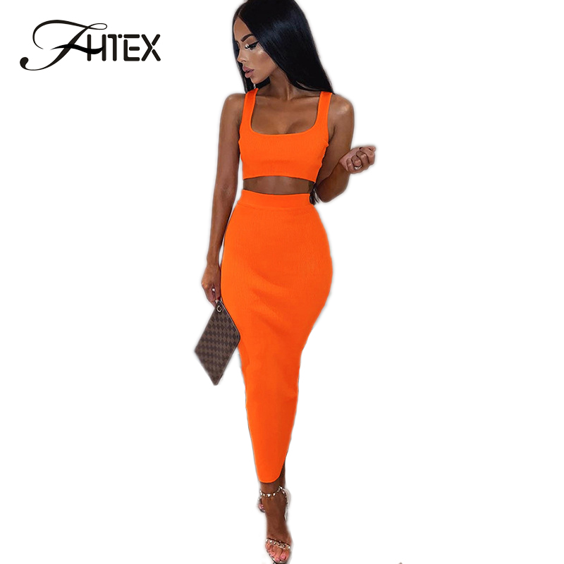 FHTEX Sexy Rib Knit Crop Top And High Waist Skirt Suit Women Slim Fit Bodycon Pencil Skirt 2 Piece Set Plain Casual Long Skirt