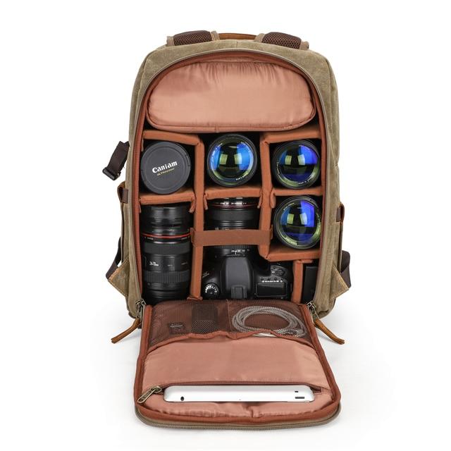 Mochila fotográfica para câmera, mochila fotográfica para câmera feita em lona, à prova d água, tripé de lona para canon nikon sony slr