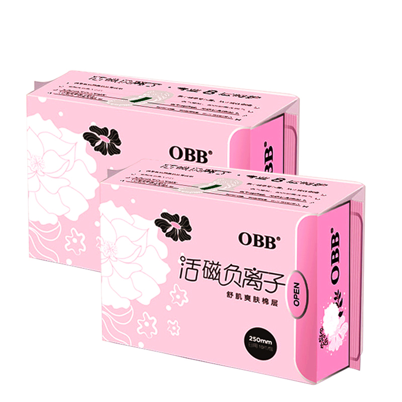 2 Packs OBB Anion Sanitary Napkins Paper Pads Sanitary Towels 8 Pads/Pack Cotton Disposable Leakproof 250mm Day Use For Women