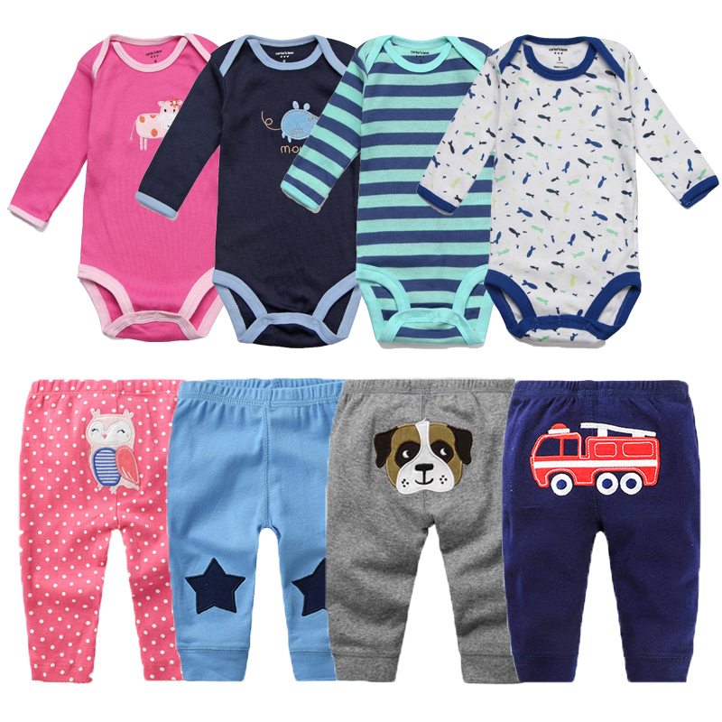 4Pcs Baby Boy Clothes Spring Baby Rompers Roupas Bebe Newborn Clothes Long Sleeve Infant Baby Girl Clothing Baby Jumpsuits+Pants baby rompers infant cotton long sleeve baby clothing baby boy girl wear newborn bebe overall clothes
