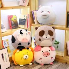 цена на Lovely Forest Animals Lion Hippo Cow Raccoon Pig Plush Toys Stuffed Doll Toy Soft Plush Pillow Birthday & Christmas Gift