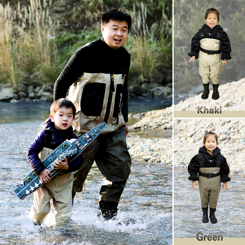 NEYGU kids Waterproof wading pants with Winter Boots Breathable Kids huting Waders for Fishing and Water