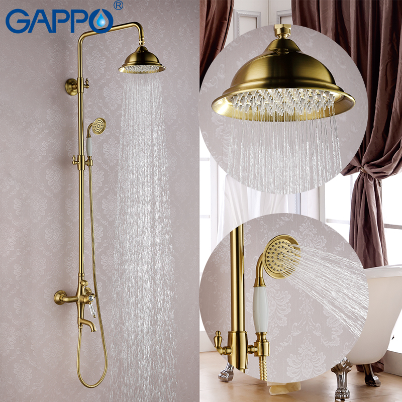GAPPO gold bathroom shower faucet set bronze bathtub mixer shower faucet Bath Shower tap waterfall big rain shower head G2497-4 free shipping polished chrome finish new wall mounted waterfall bathroom bathtub handheld shower tap mixer faucet yt 5333