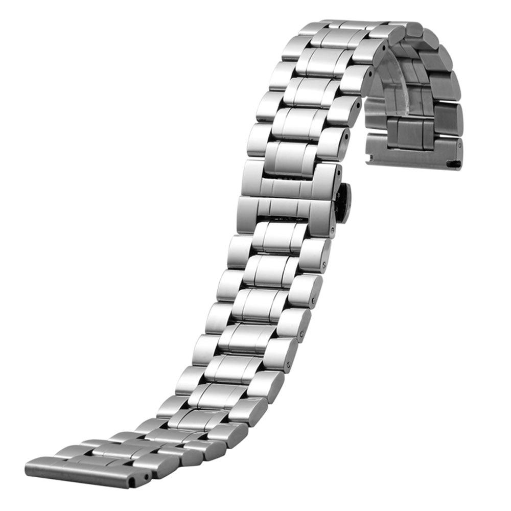 18 mm 20 mm 22 mm 24 mm 26 mm 28 mm Correa de reloj de acero inoxidable Reloj de pulsera para hombre Correa de mariposa Cierre de mariposa + 2 barras de resorte