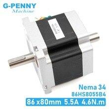 NEMA 34 CNC stepper motor 86x80mm dual shaft Nema34 stepping motor 5.5A 4.6Nm D=14mm 1.8 deg. For CNC wood working machine