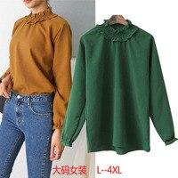 L 4XL Large Size Shirt Streetwear Tops Turtleneck Female Simple Long Sleeve Blouse Women Linen Shirt